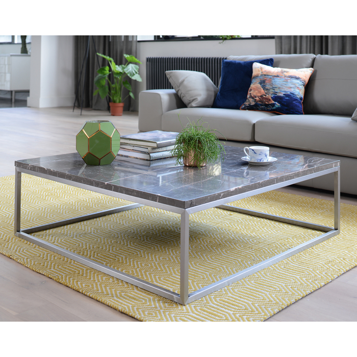 Square Coffee Table Grey: Marble Square Coffee Table Grey