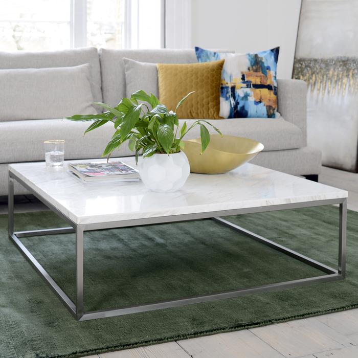 Square Coffee Table Grey: Marble Square Coffee Table White