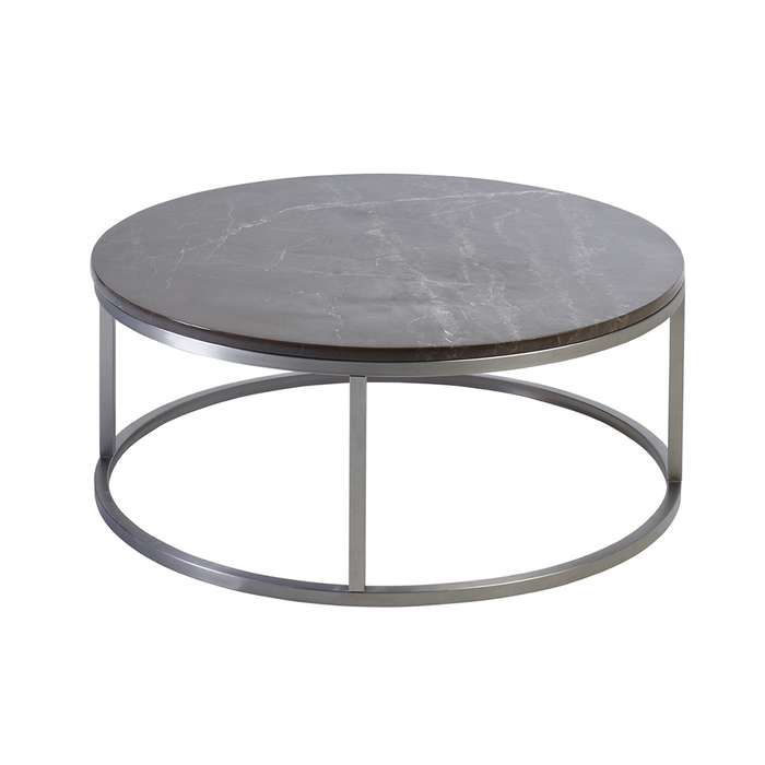 Marble round coffee table grey dwell for Grey marble coffee table set