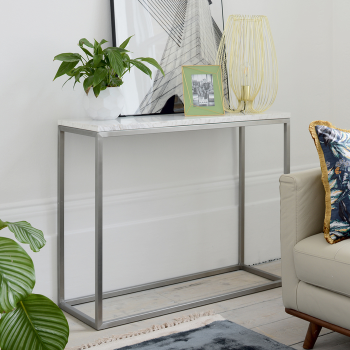 Marble console table white