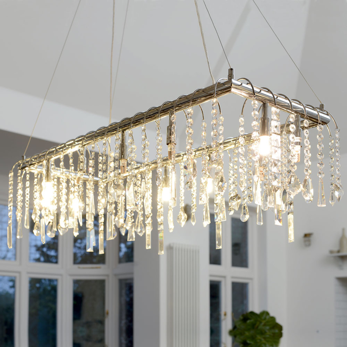 Crystal chandelier pendant light rectangular