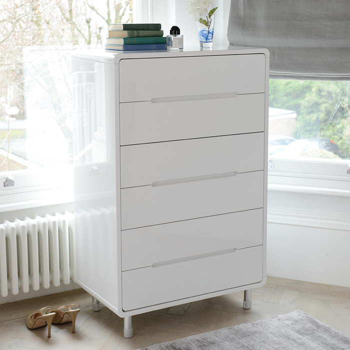 Notch tall chest of drawers white