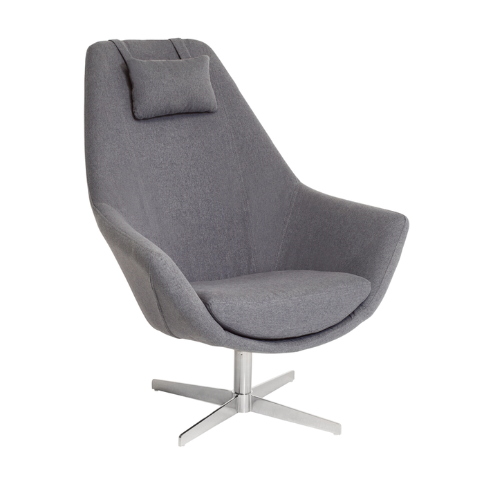 Pivot swivelling armchair grey fabric