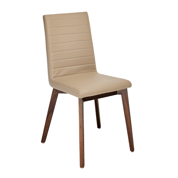 Parquet dining chair faux leather stone