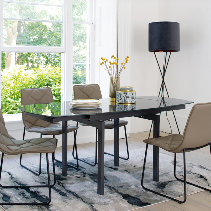 Lexington extending 4-6 seater dining table grey glass