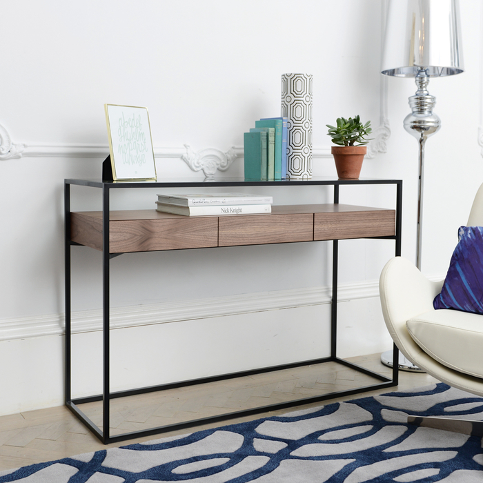 meet e60b1 83864 Drift Console Table With Drawers Walnut | dwell - £299