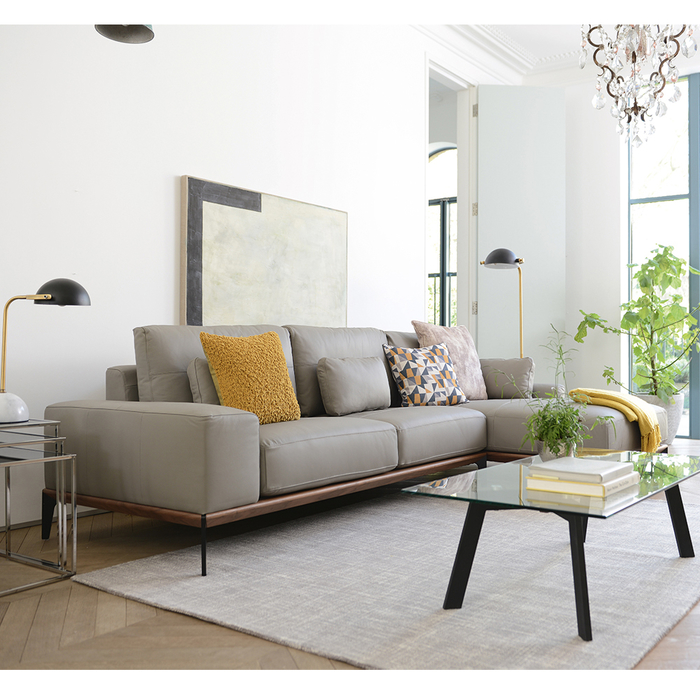 Sectional Couch Light Gray: Malmo Leather Right Hand Corner Sofa Light Grey