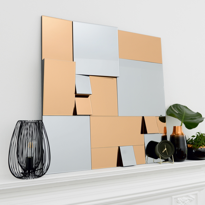 Oblique mirror copper and grey