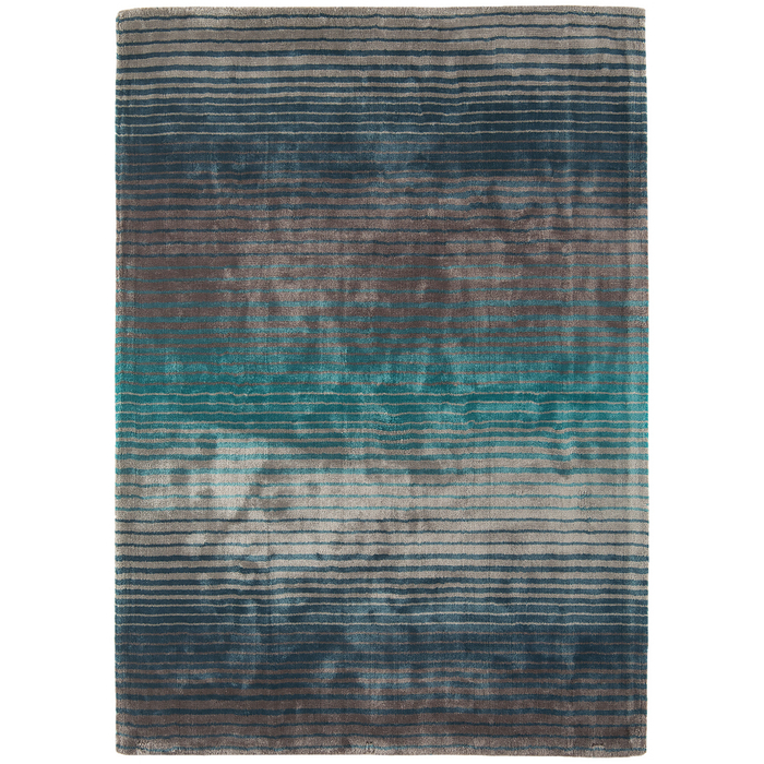 Stripe contrast rug large turquoise