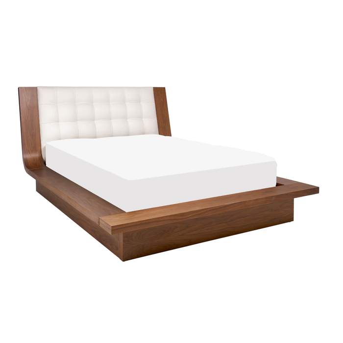 Kingsley bed with storage double white with walnut frame
