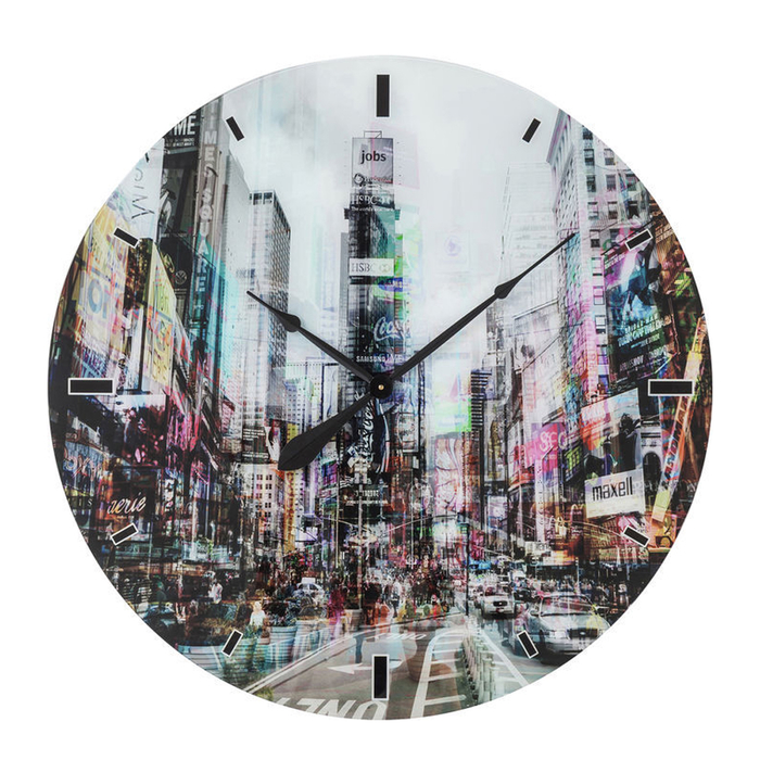 New York City Times Square Glass Wall Clock Extra Large Dwell