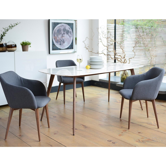 Lucerne White Marble 6 Seater Dining Table Rectangle
