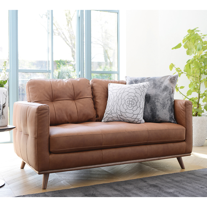 Marseille leather two seater sofa tan