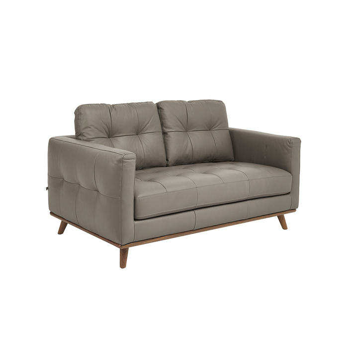 Marseille leather two seater sofa light grey