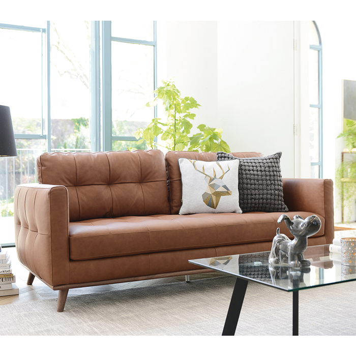 Marseille leather three seater sofa tan