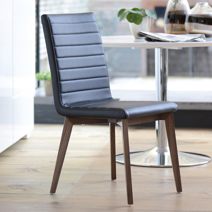 Parquet dining chair faux leather black