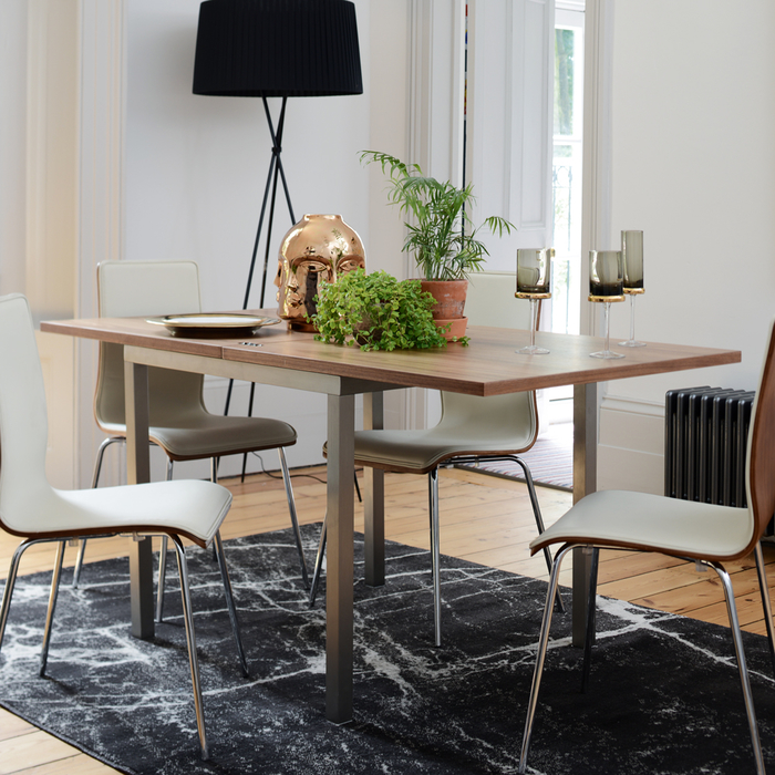 Flick extending 4-6 seater dining table walnut