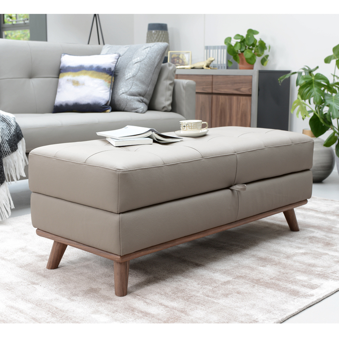 Marseille leather storage footstool light grey