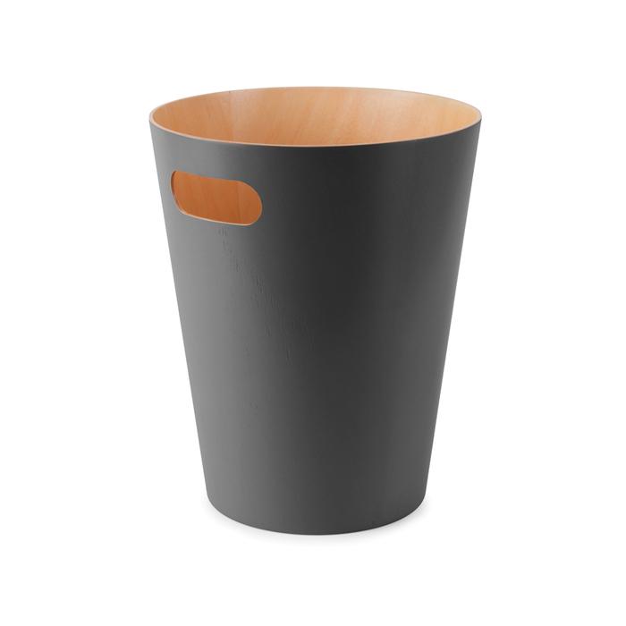 Round wooden bin grey