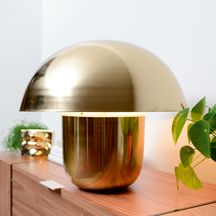 Mushroom table light brass