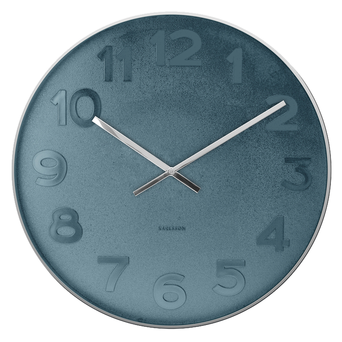 Large blue face wall clock