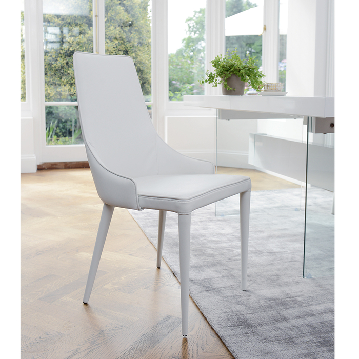 Tapered dining chair faux leather white