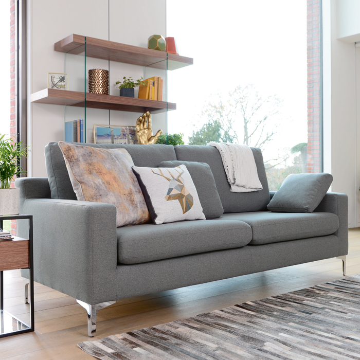 Oslo three seater sofa dark grey felt