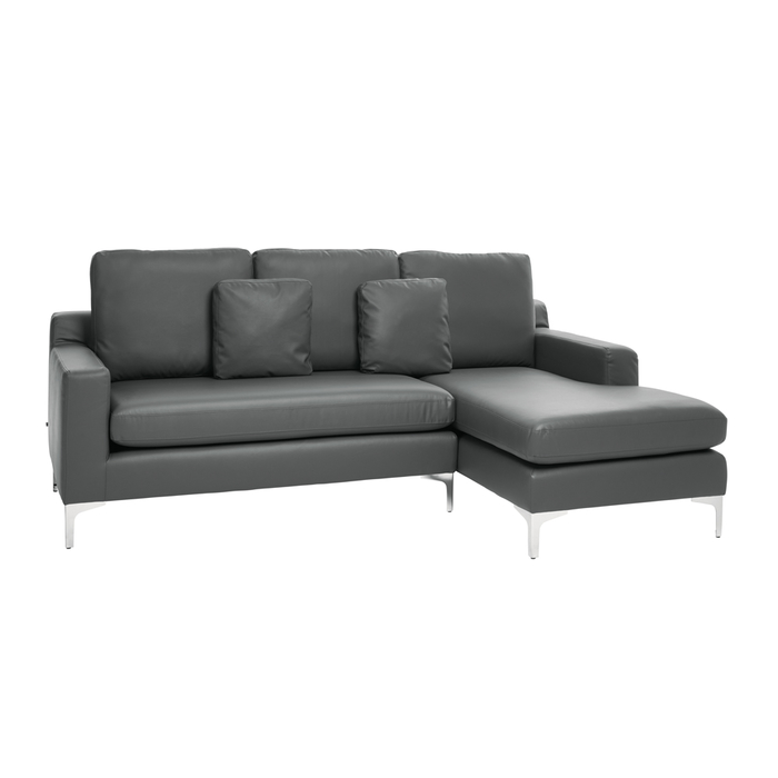 Oslo faux leather right hand corner sofa gull grey