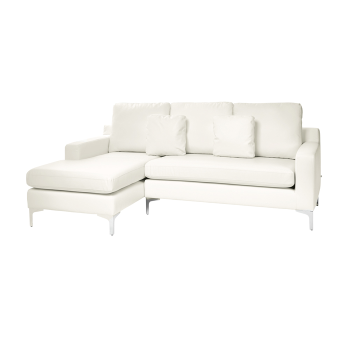 Oslo faux leather left hand corner sofa brilliant white