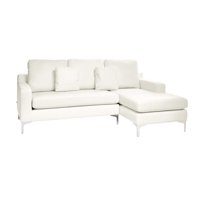 Oslo faux leather right hand corner sofa brilliant white