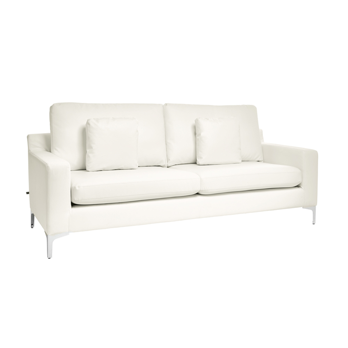 Oslo faux leather three seater sofa brilliant white