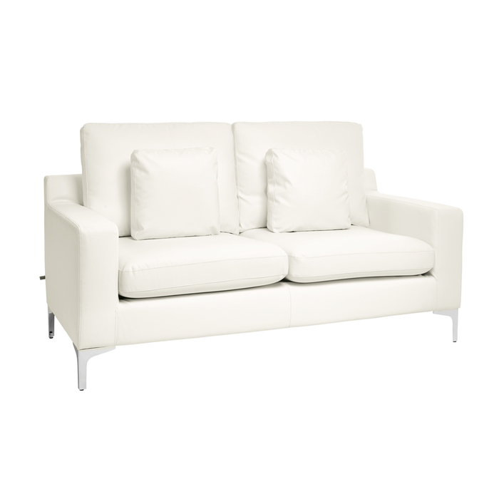 Oslo faux leather two seater sofa brilliant white