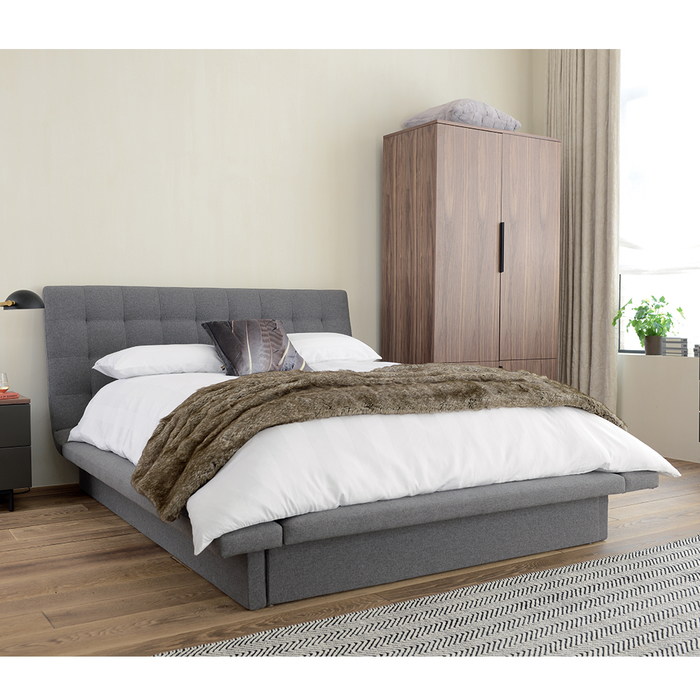 Kingsley bed with storage double grey fabric