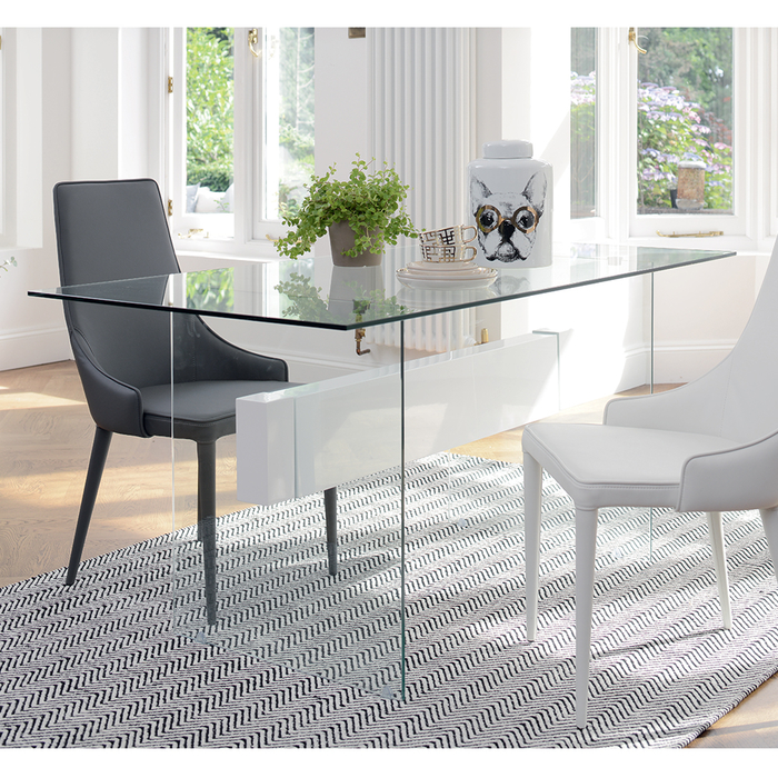 Treble glass 6 seater dining table white