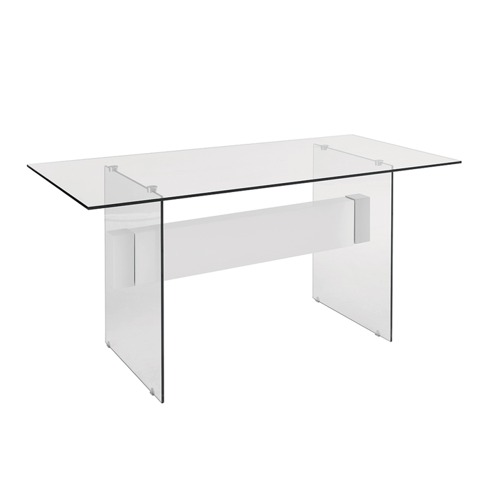 Treble glass dining table white