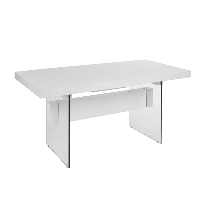 Treble extending dining table white