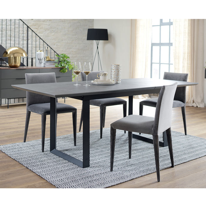 Reno ceramic extending 6-8 seater dining table slate