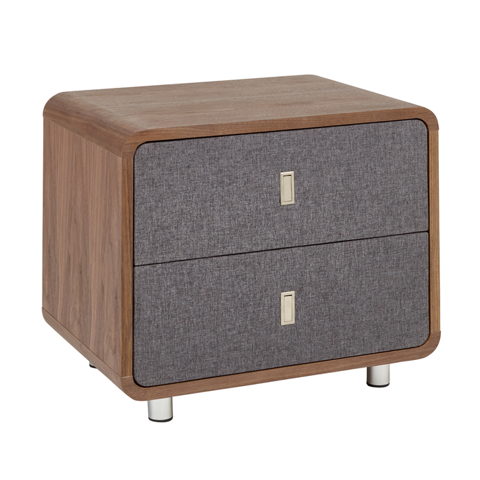 Malone upholstered bedside table walnut and grey fabric