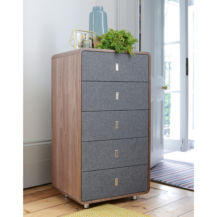 Malone upholstered five drawer chest of drawers walnut and grey fabric