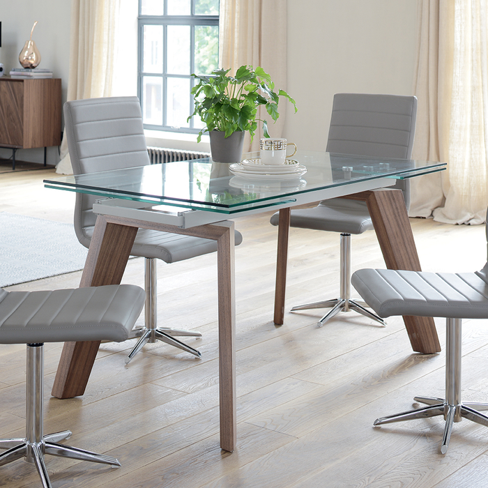 Dining Table 8 Seater: Panama Glass Extending 6-8 Seater Dining Table