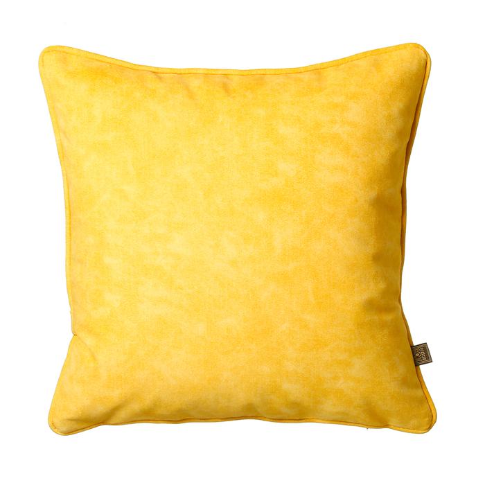Mottled velvet cushion yellow