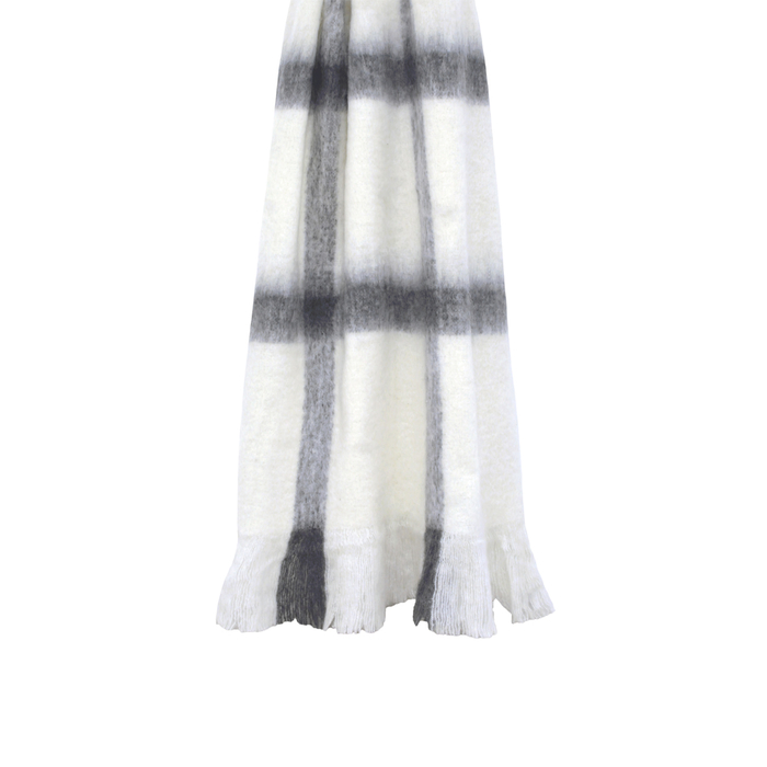 Check black and white throw