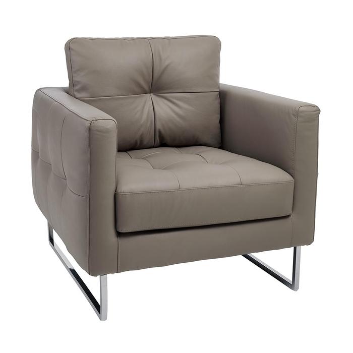 Paris faux leather armchair light grey