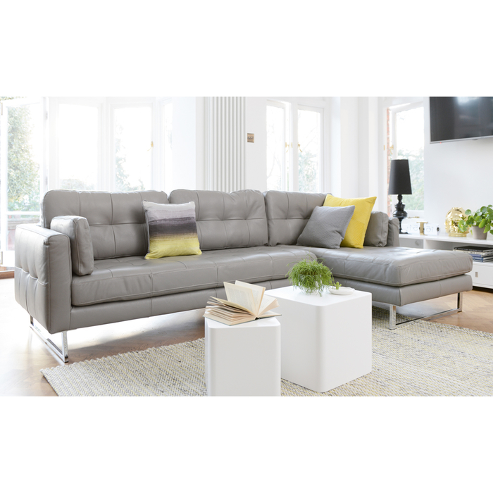 Paris leather right hand corner sofa dove grey