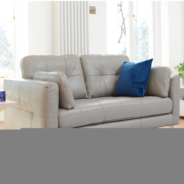 Paris leather two seater sofa dove grey