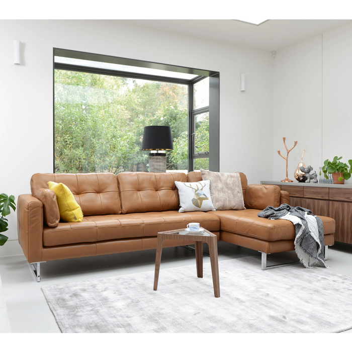 Paris Leather Right Hand Corner Sofa Natural Tan | dwell - £2,799
