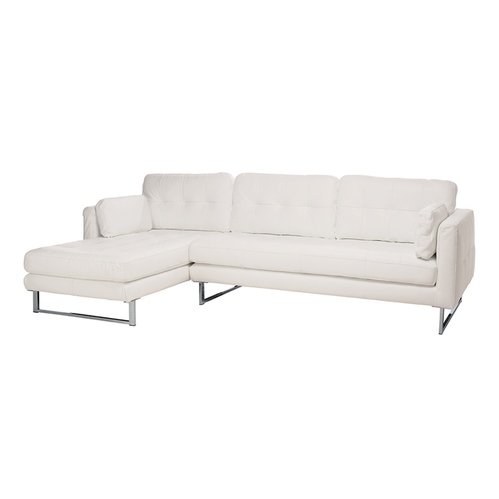Paris leather left hand corner sofa brilliant white