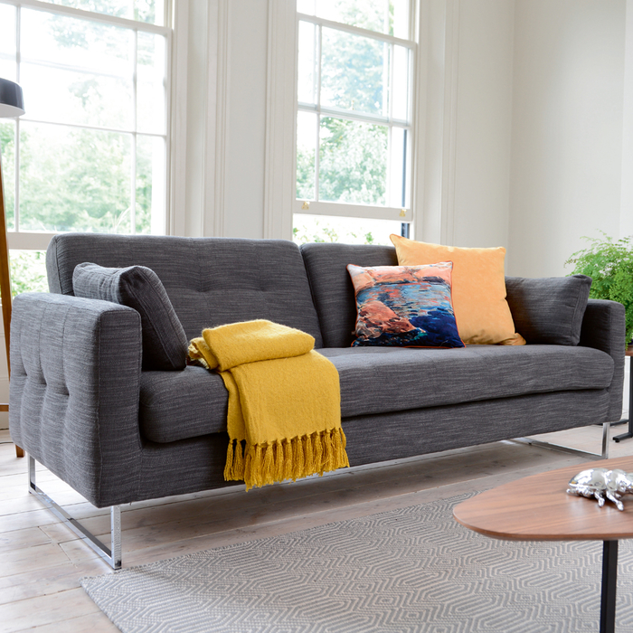 Paris Three Seater Sofa Bed Charcoal Fabric Dwell