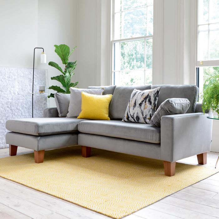 Ankara left hand corner sofa velvet grey