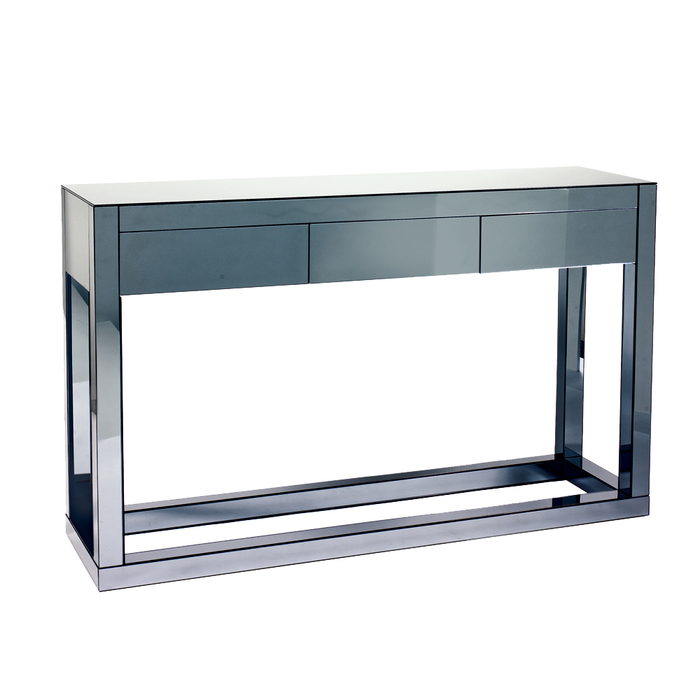 Reflect smoked mirrored three drawer console table